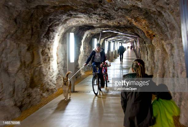 Mother with a dog and her child cycling in a tunnel on Feb 21, 2012 in Denia, Spain.