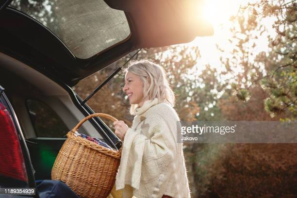 mother with her boys packing for a day in the nature - hamper stock pictures, royalty-free photos & images