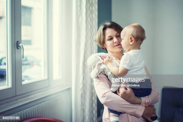 Mother with her child at home