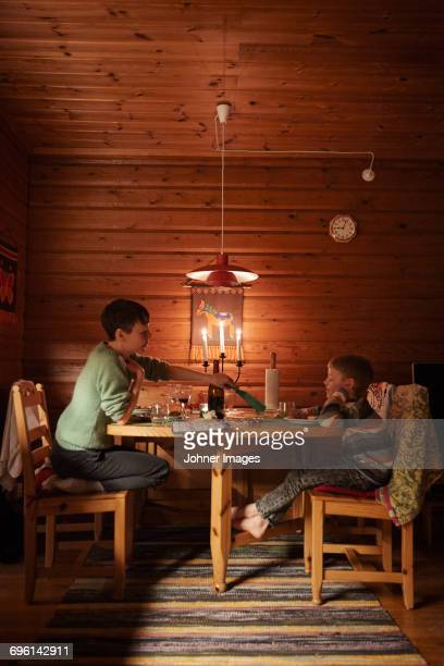 Mother with son having meal