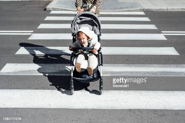 mother with son in baby carriage crossing street in city on sunny day - pushchair stock pictures, royalty-free photos & images