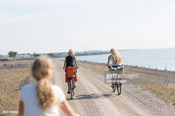 mother with two daughters cycling - エーランド ストックフォトと画像