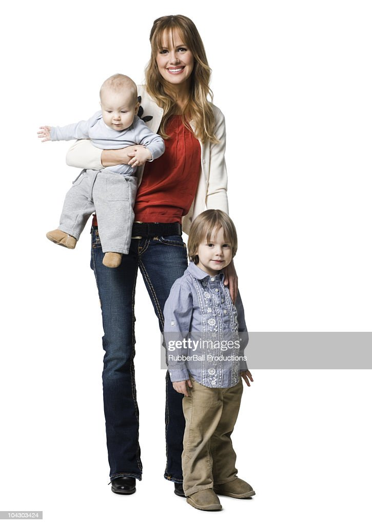 mother with two sons : Stock Photo