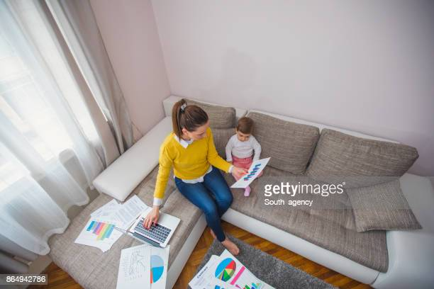 Mother working at home