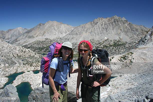 mother/daughter high sierra - john muir trail stock photos and pictures