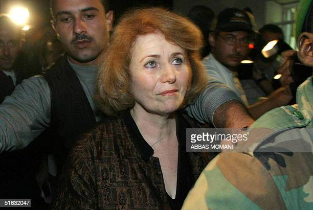 Motherinlaw of Palestinian leader Yasser Arafat Raymonda Tawil arrives at his West Bank headquarters in Ramallah 28 October 2004 Tawil Arafat's wife...