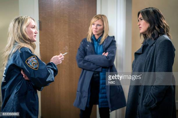 UNIT Motherly Love Episode 1810 Pictured Sarah Wynter as Dr Nicole Keller Kelli Giddish as Detective Amanda Rollins Mariska Hargitay as Lieutenant...