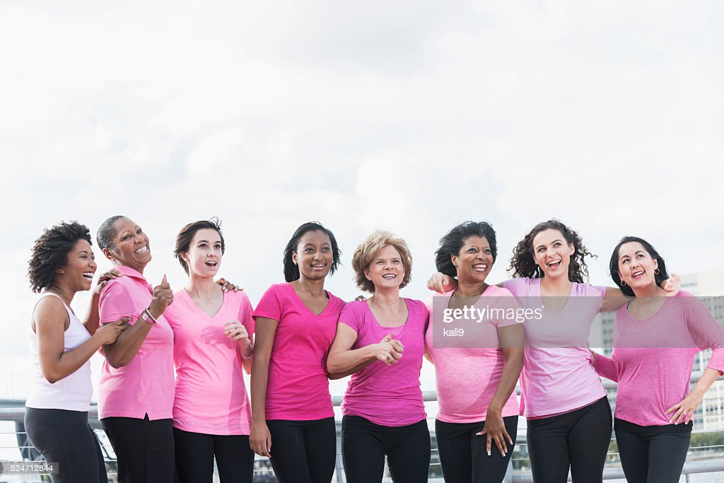 Mothers and daughters for breast cancer awareness : Stock Photo