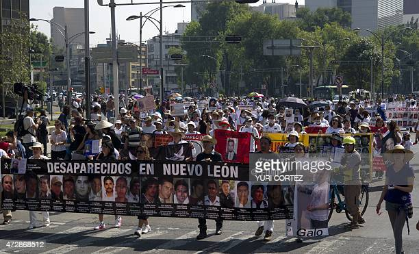 Mothers and relatives of missing people participate in a protest during the Mother's Day commemoration in Mexico City on May 10 2015 Hundreds of...
