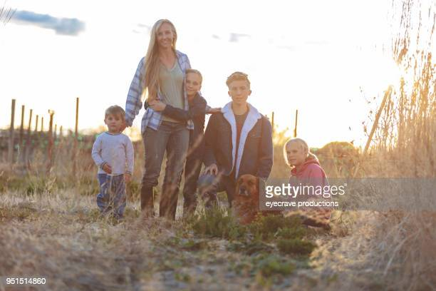 Mother's Day - At Sunset Mother Sons and Daughters in Rural Western Colorado Outdoors on a Spring Evening