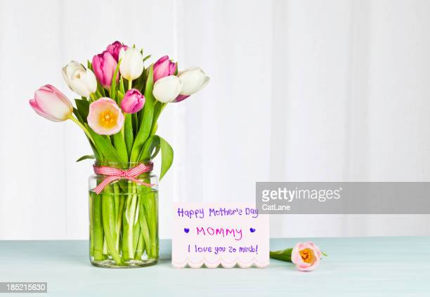 Mother's Day Card and Flowers from Child - Horizontal