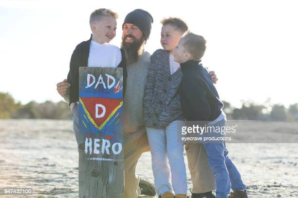 Mother's Day - Father Sons Superhero sign Family in Rural Colorado West