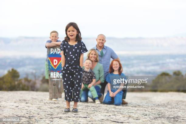 mother's day - young family father mother daughters sons outdoors evening in colorado west - cherokee indian women stock pictures, royalty-free photos & images