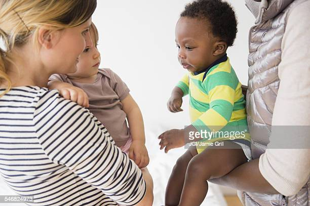 Mothers introducing babies on play date