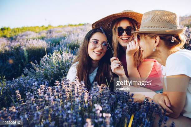 mothers love in lavender fields - matrixnis stock pictures, royalty-free photos & images