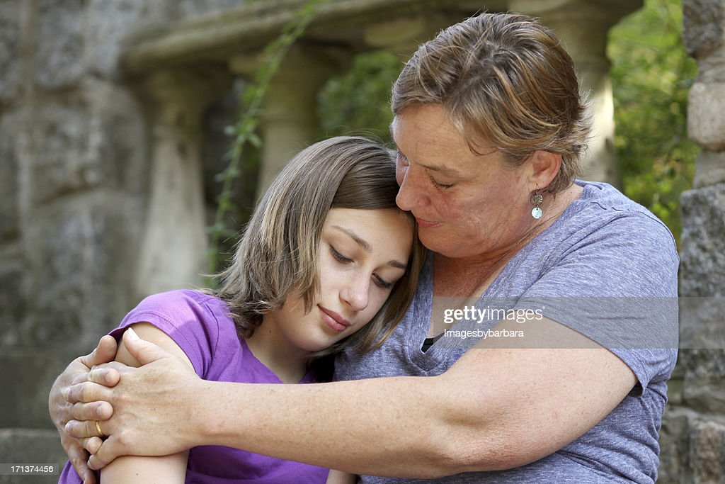 Mother's love of her troubled teenage daughter. : Stock Photo