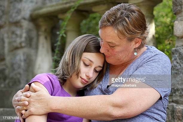 mother's love of her troubled teenage daughter. - depressed mother stock pictures, royalty-free photos & images