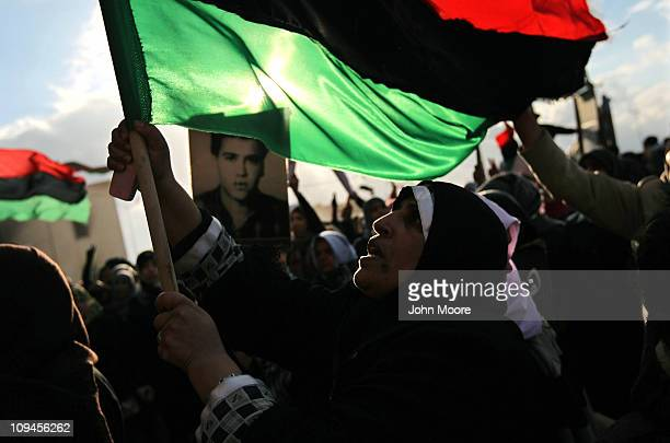 Mothers mourn their sons, political prisoners allegedly killed in 1996 by the Gaddafi regime on February 26, 2011 in Benghazi, Libya. Citizens...