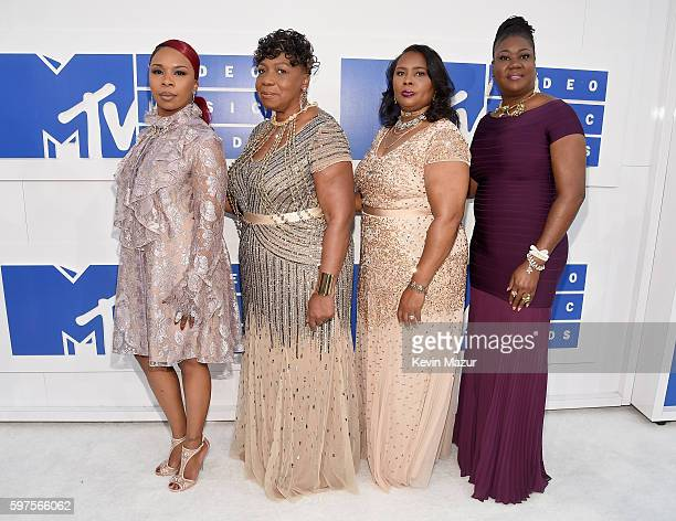 Mothers of gun violence Lesley McFadden Gwen Carr Wanda Johnson and Sybrina Fulton attend the 2016 MTV Video Music Awards at Madison Square Garden on...