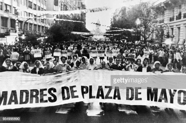 Mothers of May Square lead the march of the Resistance 21 March 1985 in Buenos Aires a 24hour march on the last Thursday of the month The Mothers of...