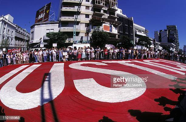 Mothers of Plaza de Mayo at the Commemoration of coup of Videla in Buenos Aires, Argentina on March 24, 1995.