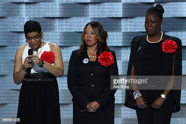 Mothers of the Movement Geneva ReedVeal mother of Sandra Bland delivers remarks as Lucia McBath mother of Jordan Davis and Sybrina Fulton mother of...