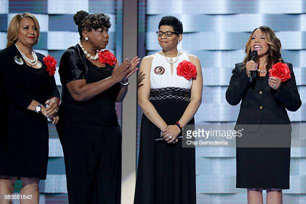 Mothers of the Movement Lucia McBath mother of Jordan Davis delivers remarks as Geneva ReedVeal mother of Sandra Bland Gwen Carr mother of Eric...