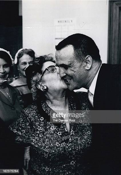 MAY 29 1959 Mother's Prerogative Municipal Judge Sherman Finesilver's mother Mrs Beck Finesilver exercises a mother's prerogative as she kisses her...