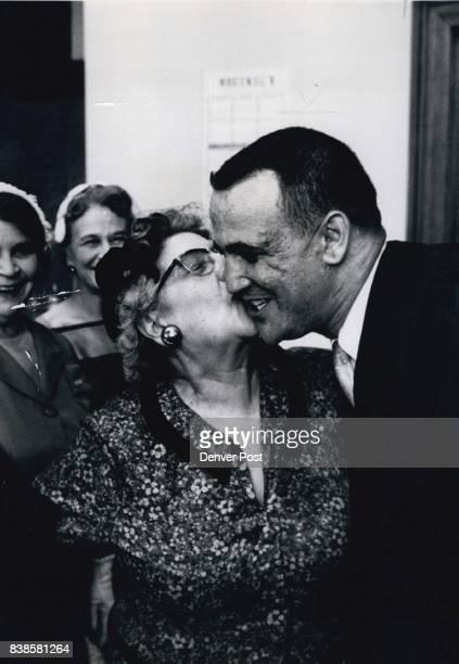 Mother's Prerogative Municipal Judge Sherman Finesilver's mother Mrs Beck Finesilver exercises a mother's prerogative as she kisses her son after he...