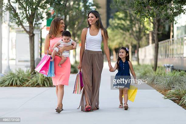 Mothers shopping with kids