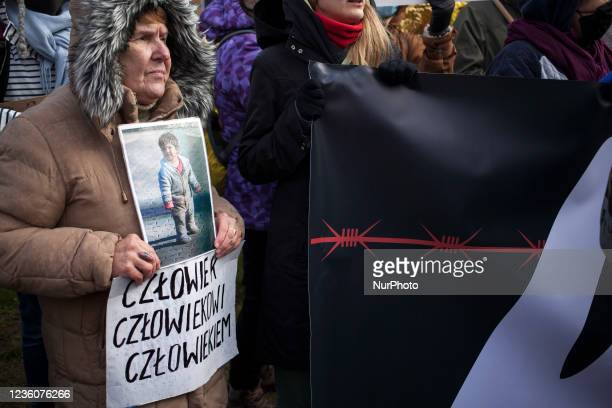 Mothers to the Border protest organized near Border Guards outpost against inhumane treatment of immigrants on the Polish Belarusian border in...