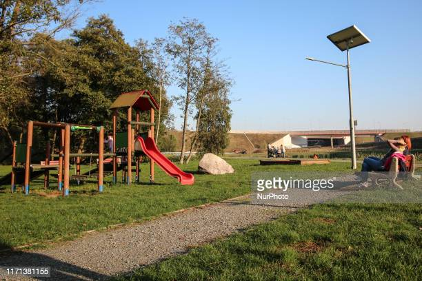 Mothers with children playing on a public children's playground is seen in Gdansk Poland on 26 September 2019