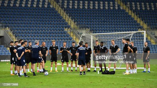 Motherwell FC during a training session at HaMoshava Stadium, on September 23 in Petak Tikva, Israel.