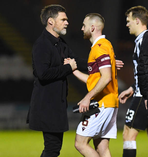 Motherwell manager Graham Alexander and Allan Campbell at full time during a Scottish Premiership match between St Mirren and Motherwell at The SMISA...