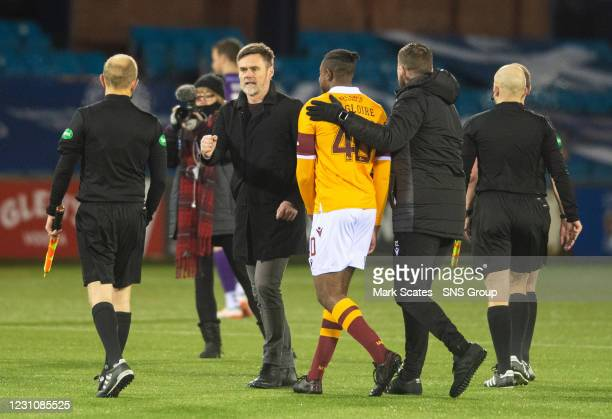 Motherwell manager Graham Alexander at full time during a Scottish Premiership match between Kilmarnock and Motherwell at Rugby Park on February 10...