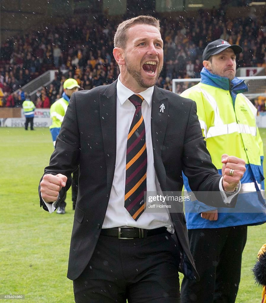Motherwell manager Ian Baraclough celebrates at final whistle during the Scottish Premiership play-off final 2nd leg between Motherwell and Rangers at Fir Park on May 31, 2015 in Motherwell, Scotland.