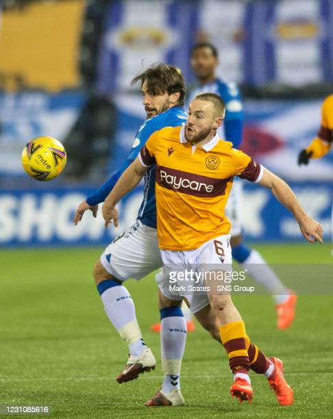Motherwell's Alan Campbell in action with George Oakley of Kilmarnock during a Scottish Premiership match between Kilmarnock and Motherwell at Rugby...
