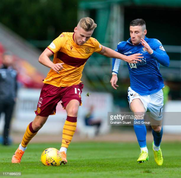 Motherwell's James Scott in action with St Johnstone's Michael O'Halloran during the Ladbrokes Premiership match between St Johnstone and Motherwell...