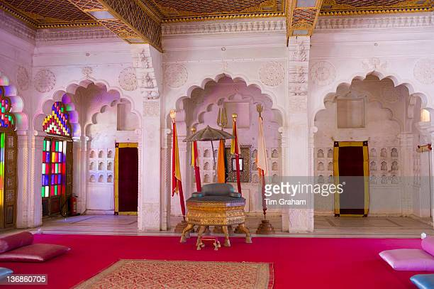 Moti Mahal The Pearl Palace at Mehrangarh Fort 16th Century hall of public audience at Jodhpur in Rajasthan Northern India