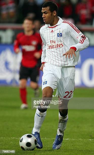 Moting Choupo of Hamburg runs with the ball during the Bundesliga match between Bayer Leverkusen and Hamburger SV at the BayArena on February 9 2008...