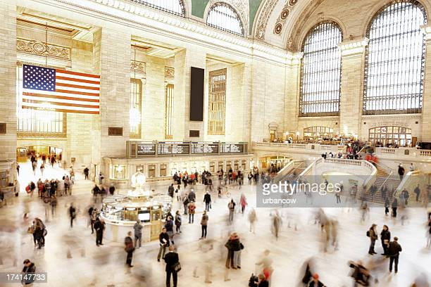 motion at grand central station - grand central station stock photos and pictures