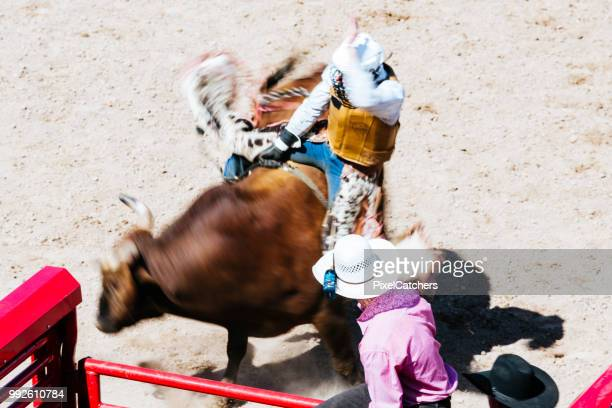 Motion blur action shot from above as bull rider holds on as tight as he can