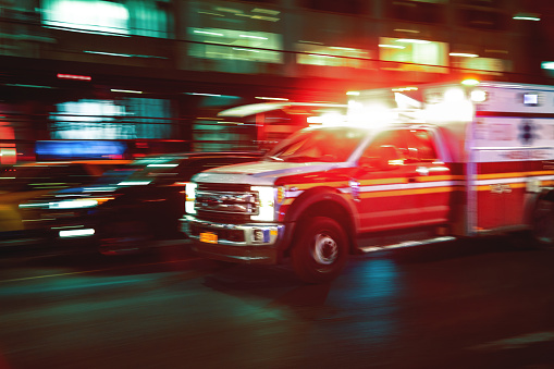 Motion blur ambulance United States 1133586898