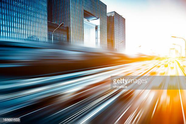 Motion blur Bild des Verkehrs in Peking, China