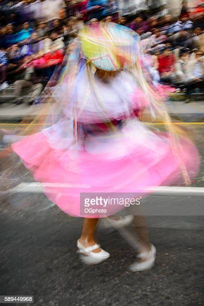 Motion blur of festival dancers