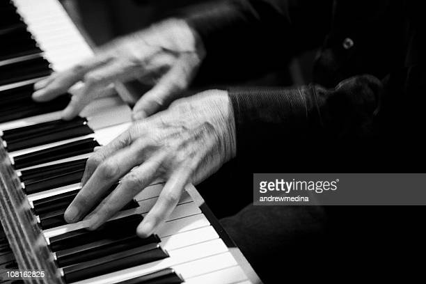 Motion Blur of Hands Playing Piano, Black and White