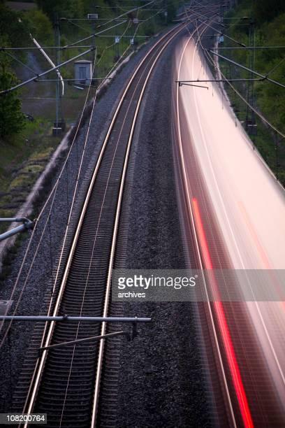 Motion Blur of High Speed Train on Railway Tracks