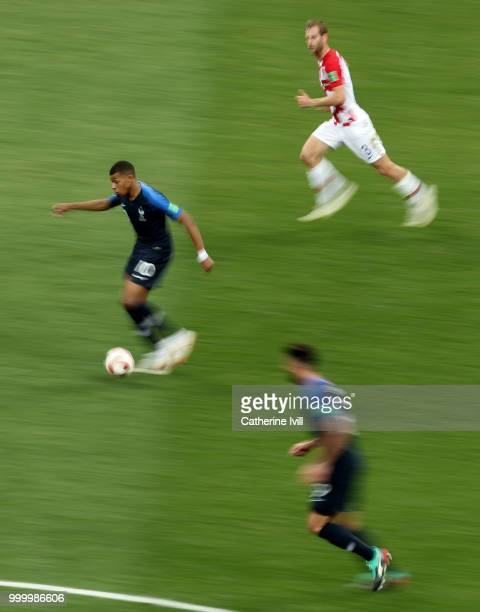 Motion blur of Kylian Mbappe of France during the 2018 FIFA World Cup Russia Final between France and Croatia at Luzhniki Stadium on July 15 2018 in...
