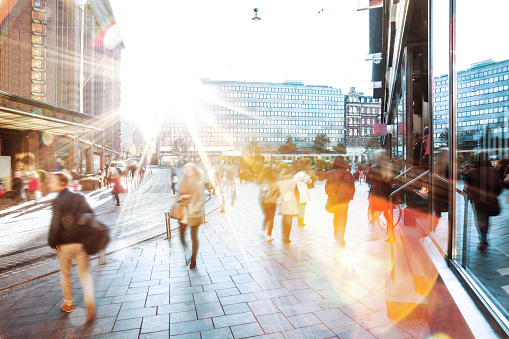 Motion Blur of People Walking in the City 639109564