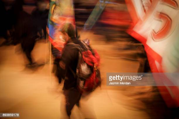 Motion blur of people walking